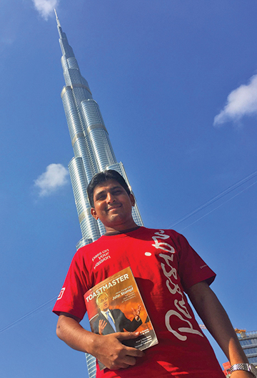 Hafeez Rahman, from Singapore, is captured in a photo of the world's tallest building, the Burj Khalifa, in Dubai, United Arab Emirates.