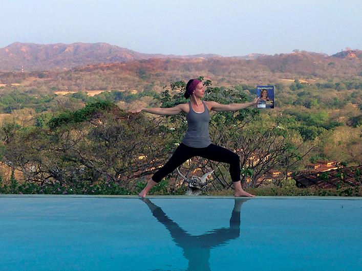 Annika Pint, from Toronto, Ontario, Canada, strikes a pose at Panacea del al Montana yoga retreat near Tamarindo, Costa Rica.