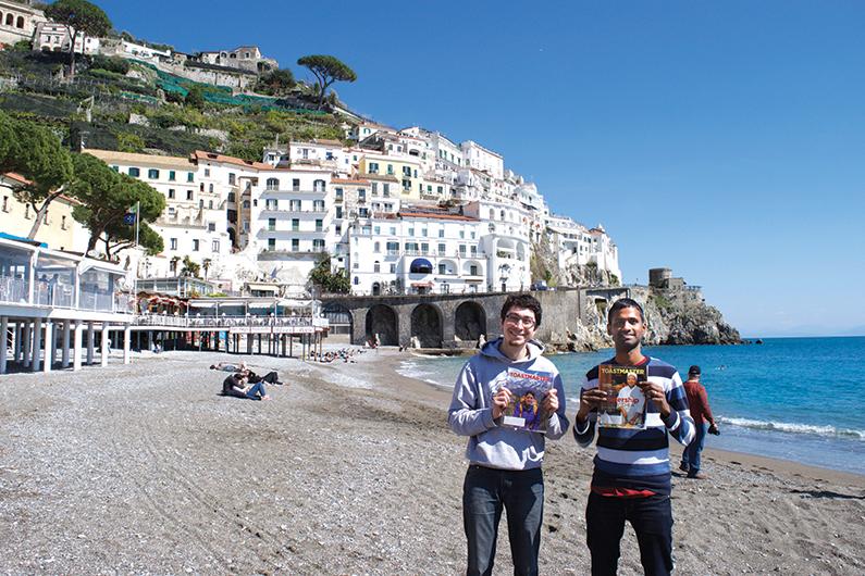 Alban Bridonneau, CC, and Dilip Kumar, from Cambridge, United Kingdom, pose on the Amalfi Coast near Naples, Italy.