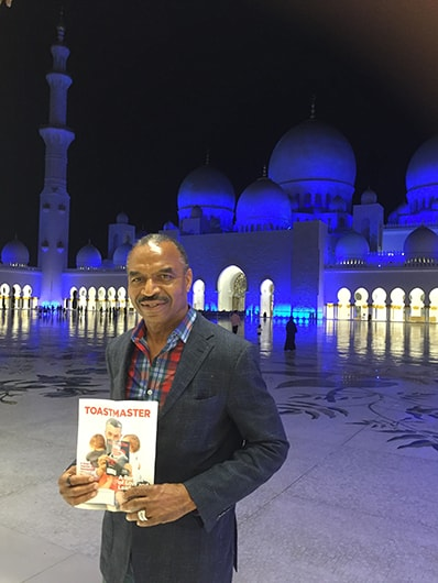 Stephen Ggiles, from Dallas, Texas, takes in the view at the Sheikh Zayed Grand Mosque in Abu Dhabi, United Arab Emirates.