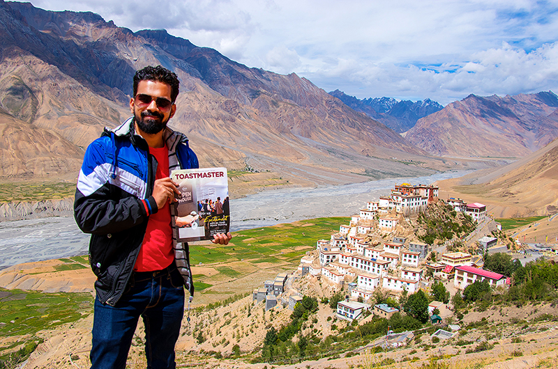 Utkarsh Jumle, from Thakurli, India, poses after trekking near the Key Monastery in Spiti Valley, India.