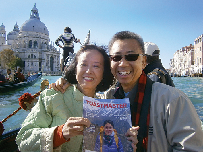 Cynthia Chan, CC, and Jimmy Chan, CC, CL, from Cerritos, California, ride a ­gondola while on vacation in Venice, Italy.