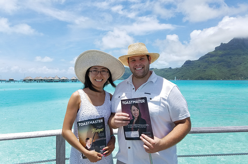 Betty Ficke, CC, CL, and Jason Ficke, from Anaheim, ­California, visit Bora Bora, French Polynesia, for their ­honeymoon.