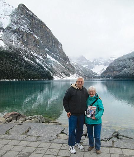 Sandy Kardis, DTM, PDG, and Tony Kardis, CC, CL, from Creve Coeur, Missouri, visit Lake Louise in Alberta, Canada.
