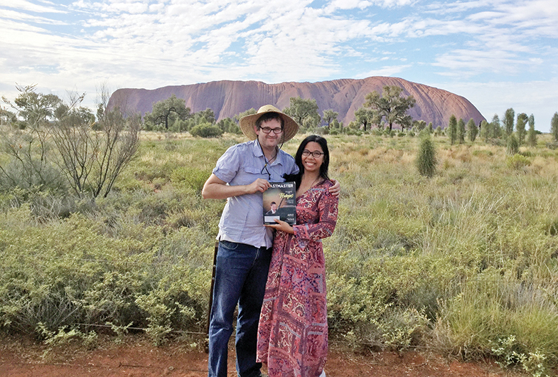 Matthew Yearbury, ACS, CL, and Nina Yearbury, ACG, ALB, from Queensland, Australia, visit Uluru (Ayers Rock) in Central Australia.