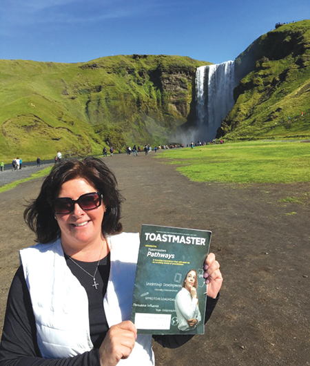 Deborah Brown, from Long Island, New York, poses near Langjökull—the second largest glacier in Iceland.
