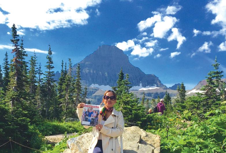 Grace Moran, from Doha, Qatar, visits Logan Pass at Glacier National Park in Montana, United States.