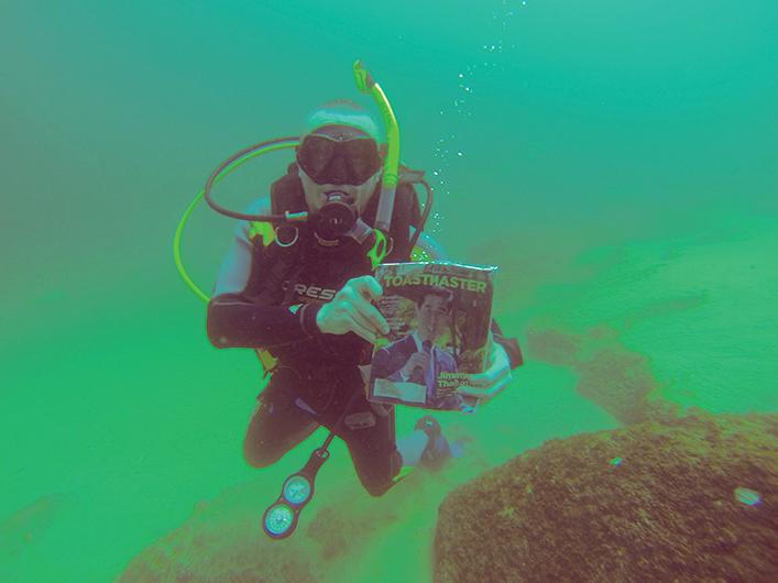 James Hamilton, from Edmonton, Alberta, Canada, dives into the Sea of Cortez near Cabo San Lucas, Mexico.
