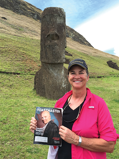 Mona Pittenger, CC, from Fort Lauderdale, Florida, visits the Moai on Easter Island, Chile.