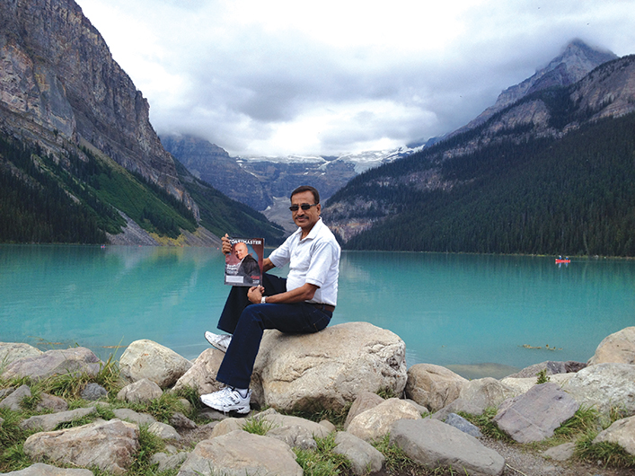 Sethuraman Kumaraswamy, CC, from ­Kingston, Jamaica, enjoys the view in Banff National Park in the Canadian Rockies.