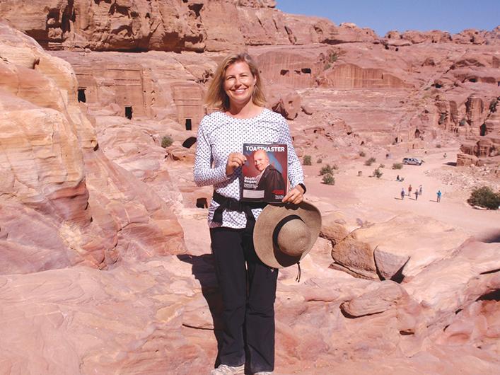 Teresa Josephson, DTM, from Richland, Washington, poses in Petra, Jordan.