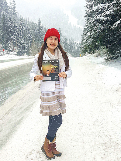 Candace April Tan, CC, from Rizal, Philippines, enjoys the snow in Whistler, British Columbia, Canada.