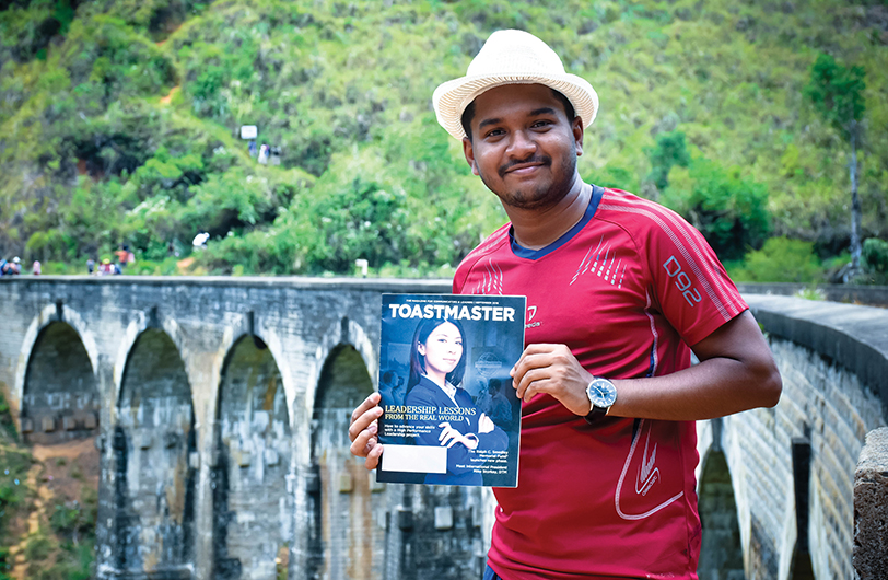 Diren Dantanarayana, CC, ALB, from Nugegoda, Sri Lanka, poses near Nine Arch Bridge in Demodara, Sri Lanka.