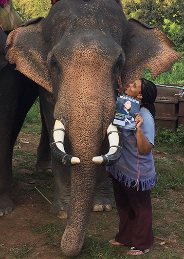 Kadian Grant, from Piscataway, New Jersey, meets Panalo, a Thai elephant in Chiang Mai, Thailand.