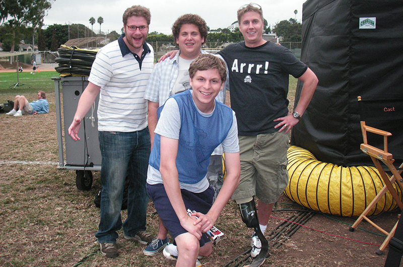 John Mabry (far right), poses on the set of Superbad with fellow actors.
