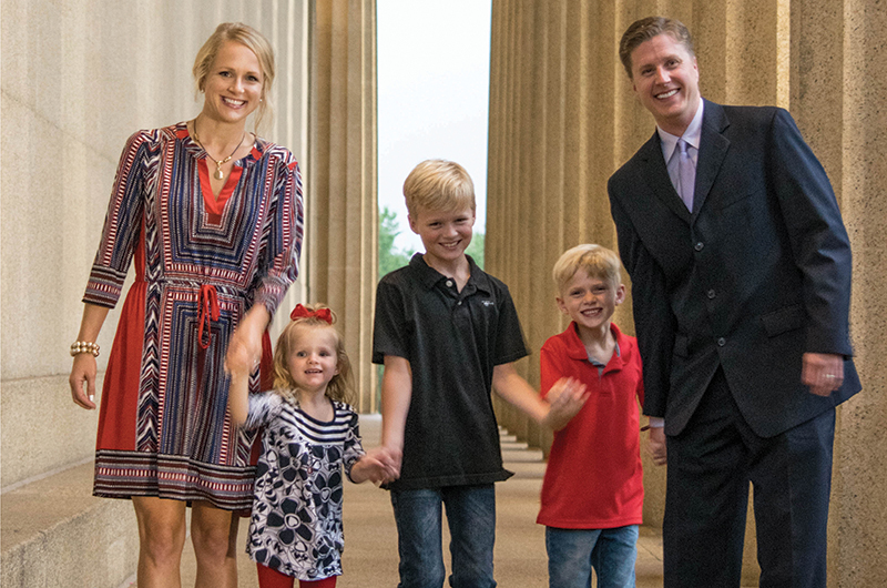 John Mabry and wife Sarah with their children (from left) Sawyer, 3; Larson, 9; and Austin, 6.