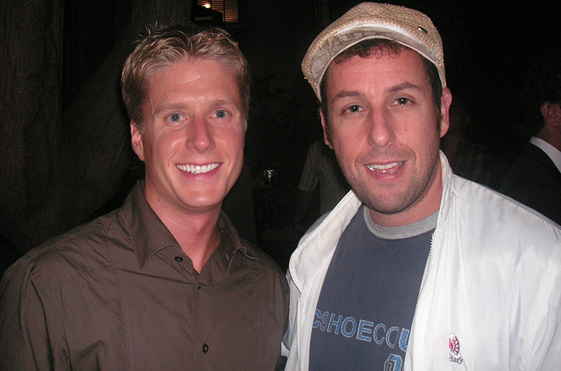Mabry, left, with actor Adam Sandler.