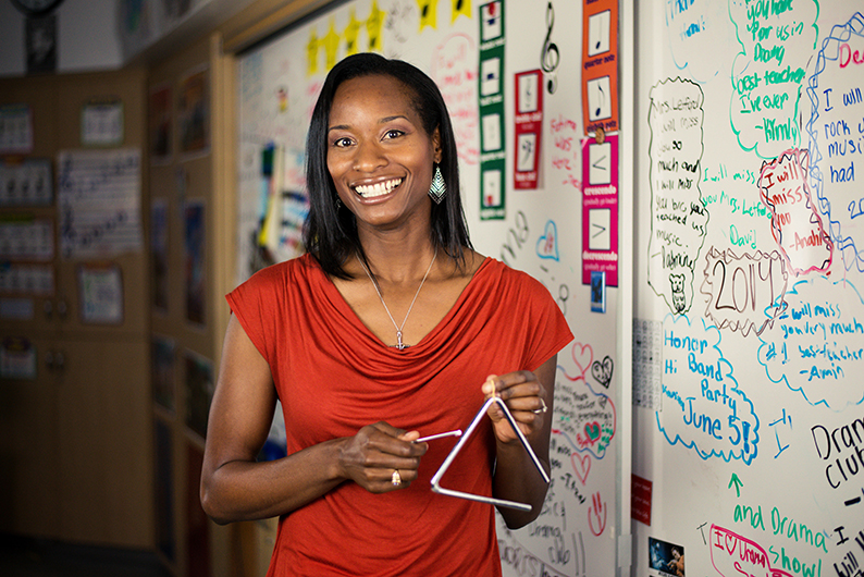 Shown here in her classroom at N.E.W Academy at Canoga Park, Letford integrates the different components of the arts into the learning experience of all students at the school.