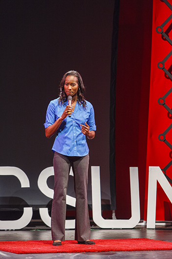 """Letford gives her speech, """"Brilliant Yet Broke: The Missing Tools Our Kids Need to Succeed,"""" at TEDxCSUN."""