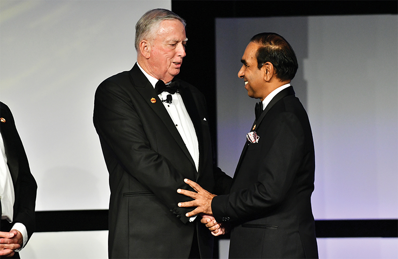 The leadership torch has now been passed from 2016–2017 International President Mike Storkey to 2017–2018 International President Balraj Arunasalam.