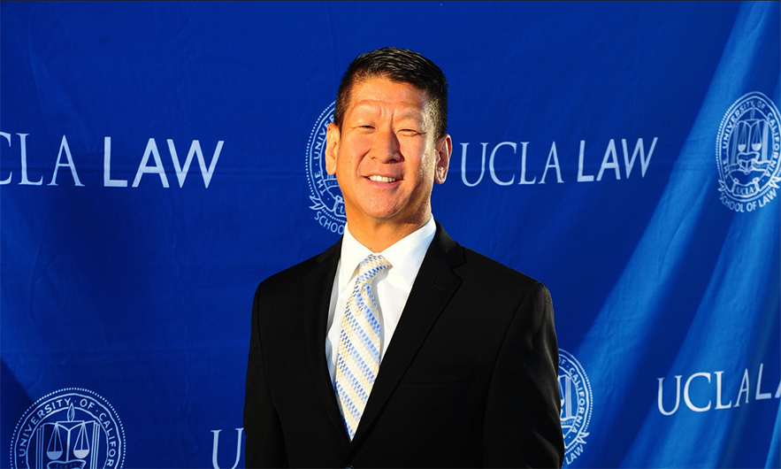 Steve Yu poses at the Dean's Circle Dinner at the UCLA School of Law.