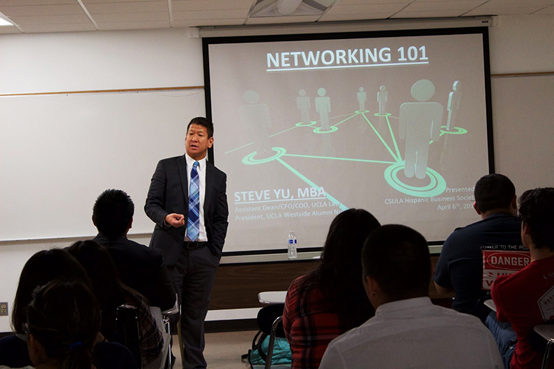 Yu teaches a Networking 101 class to UCLA students.