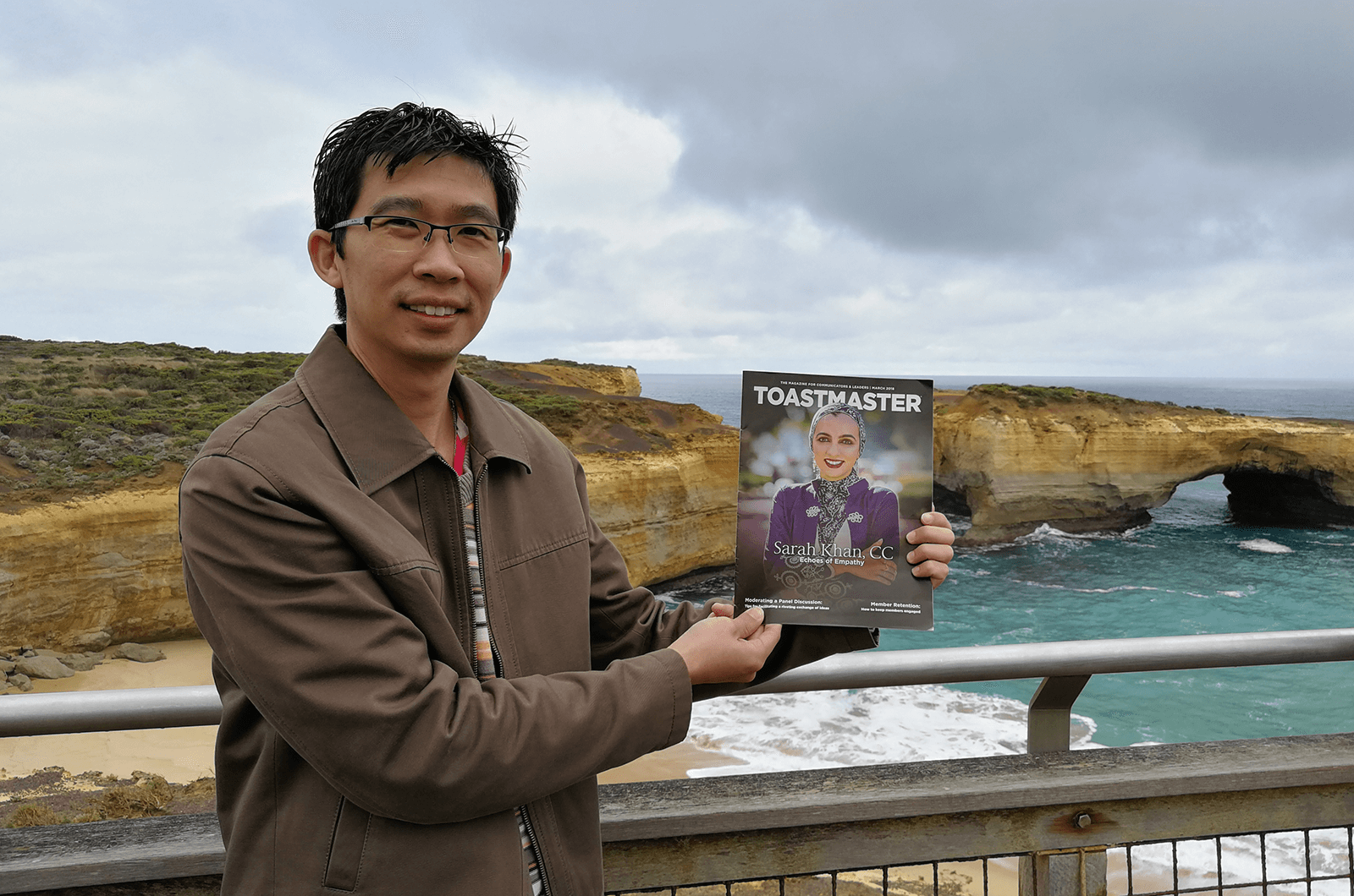 Goh Chee Yong, ACB, of Petaling Jaya, Selangor, Malaysia, at the London Bridge rock formation in Victoria, Melbourne, Australia.