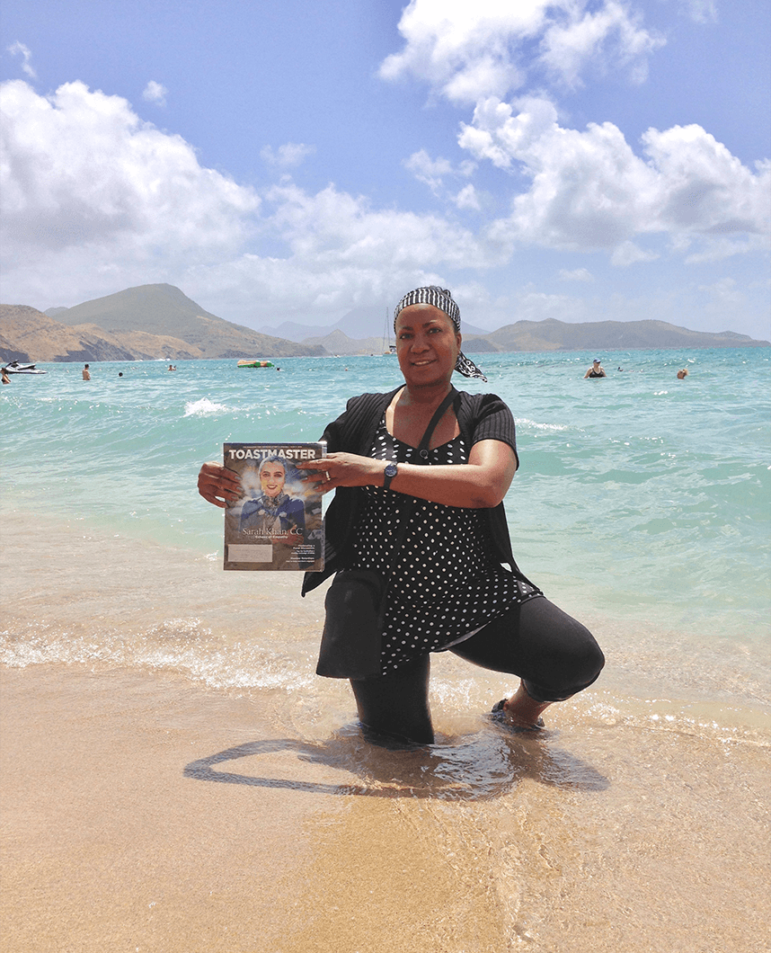 Sheila Umbaji Futch, ACG, ALB, from Moreno Valley, California, enjoys the warm waters at South Friars Beach, St. Kitts, a dual-island nation in the West Indies.