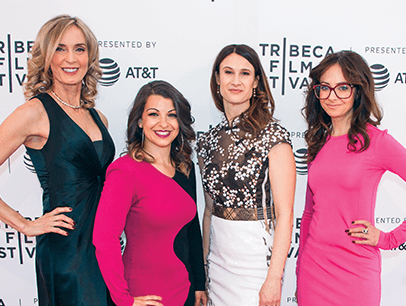 Tina Reine with Netizens costar Anita Sarkeesian, director Cynthia Lowen and costar Carrie Goldberg at the Tribeca Film Festival