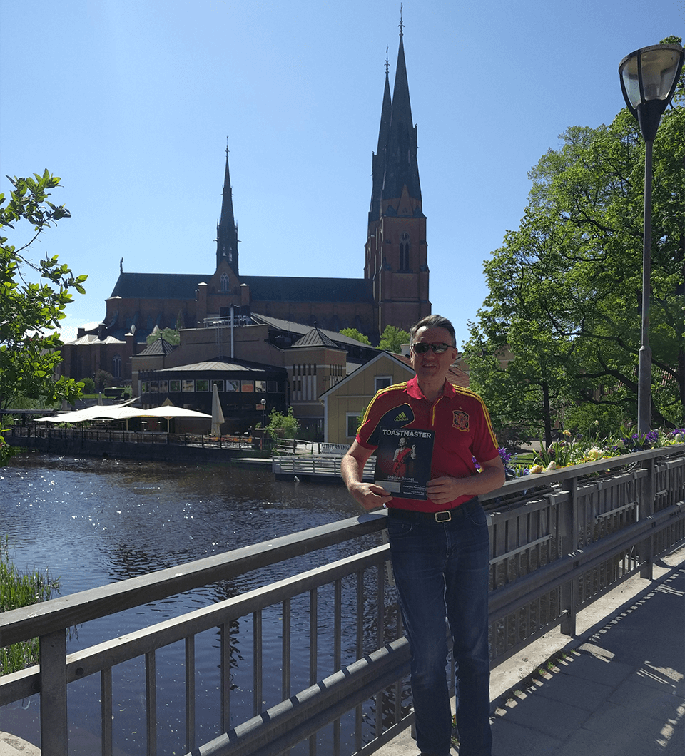 Carlos Escapa, ACS, CL, of Foster City, California, strolls by the Fyris river in the university town of Uppsala, Sweden.