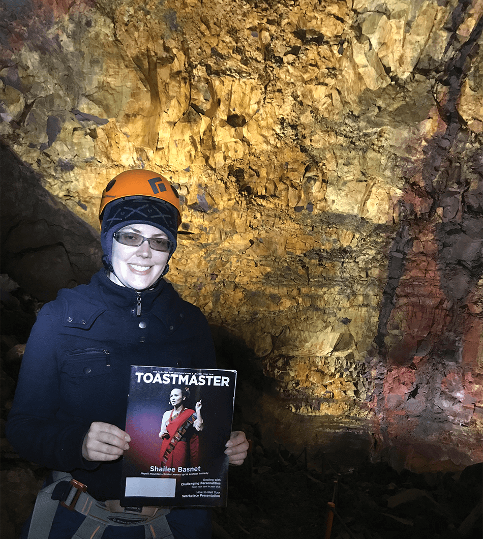 Felicia Ketcheson, ACS, ALB, of London, Ontario, Canada, explores the 700-foot-deep magma chamber of dormant Thrihnukagigur Volcano near Reykjavik, Iceland.