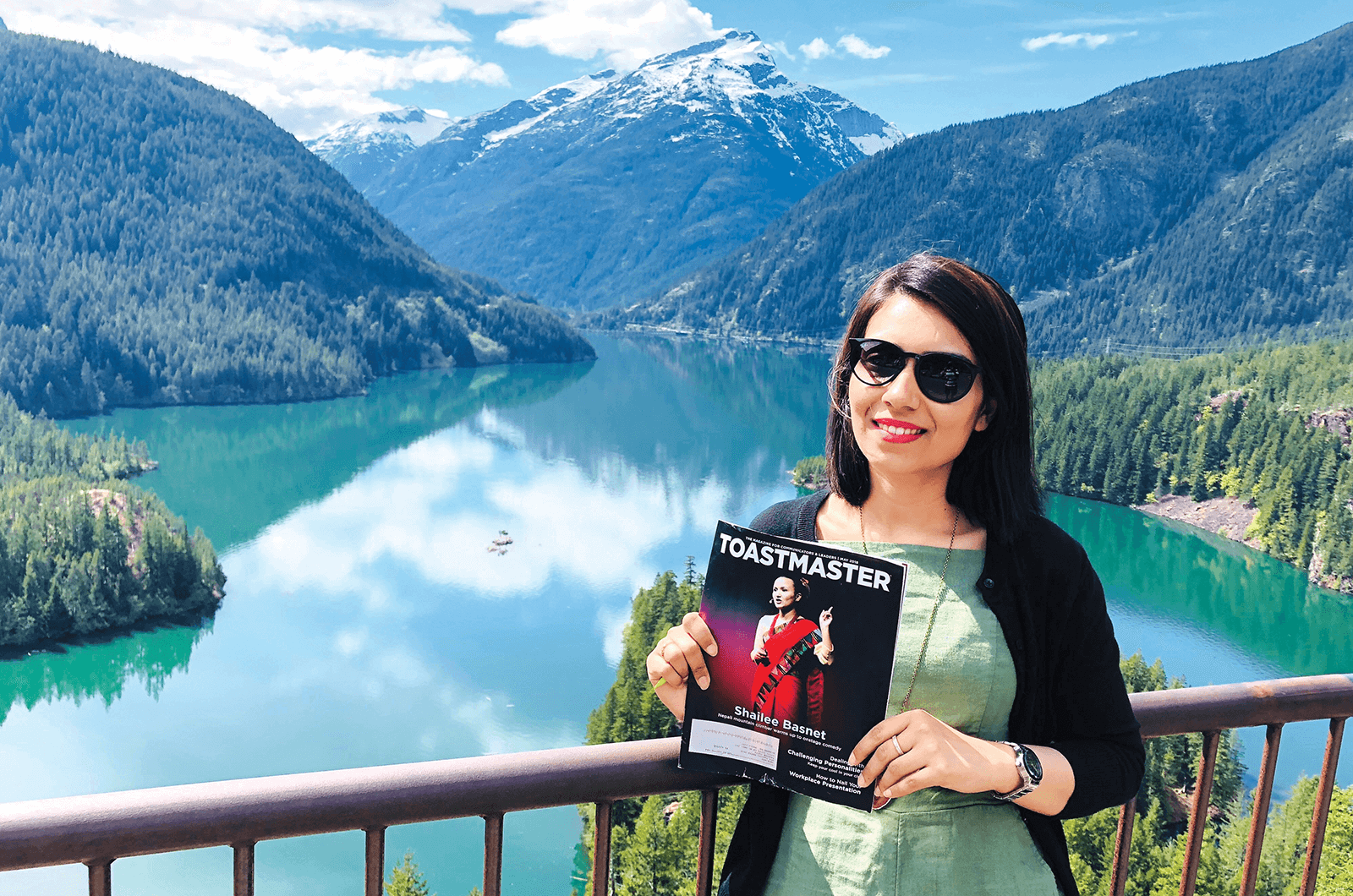 Karishma Tiwari, of Redmond, Washington, U.S., at Diablo Lake reservoir in Washington's North Cascades National Park.