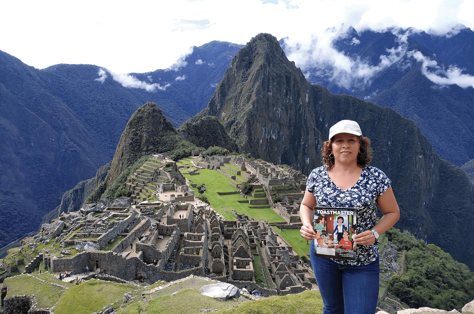 Alba Lucia Hincapie, CC, ALB, of Barcelona, Spain, visits the ruins of Machu Picchu, the 15th-century Inca citadel located 2,430-meters/7,790-feet above sea level in Cusco, Perú.