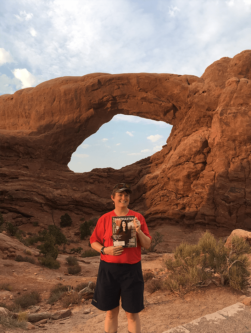 Laura Foley, ACB, ALB, of Hubbardston, Massachusetts, explores the rock formations of Arches National Park, Utah, during a trip through the American West.