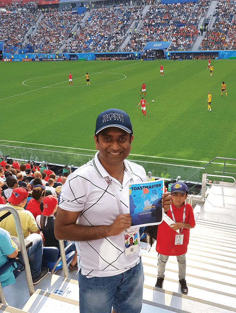 Satish Kumar, DTM, of Safat, Kuwait, at the third-place match between England and Belgium during the 2018 FIFA World Cup at Krestovsky Stadium, St. Petersburg, Russia.