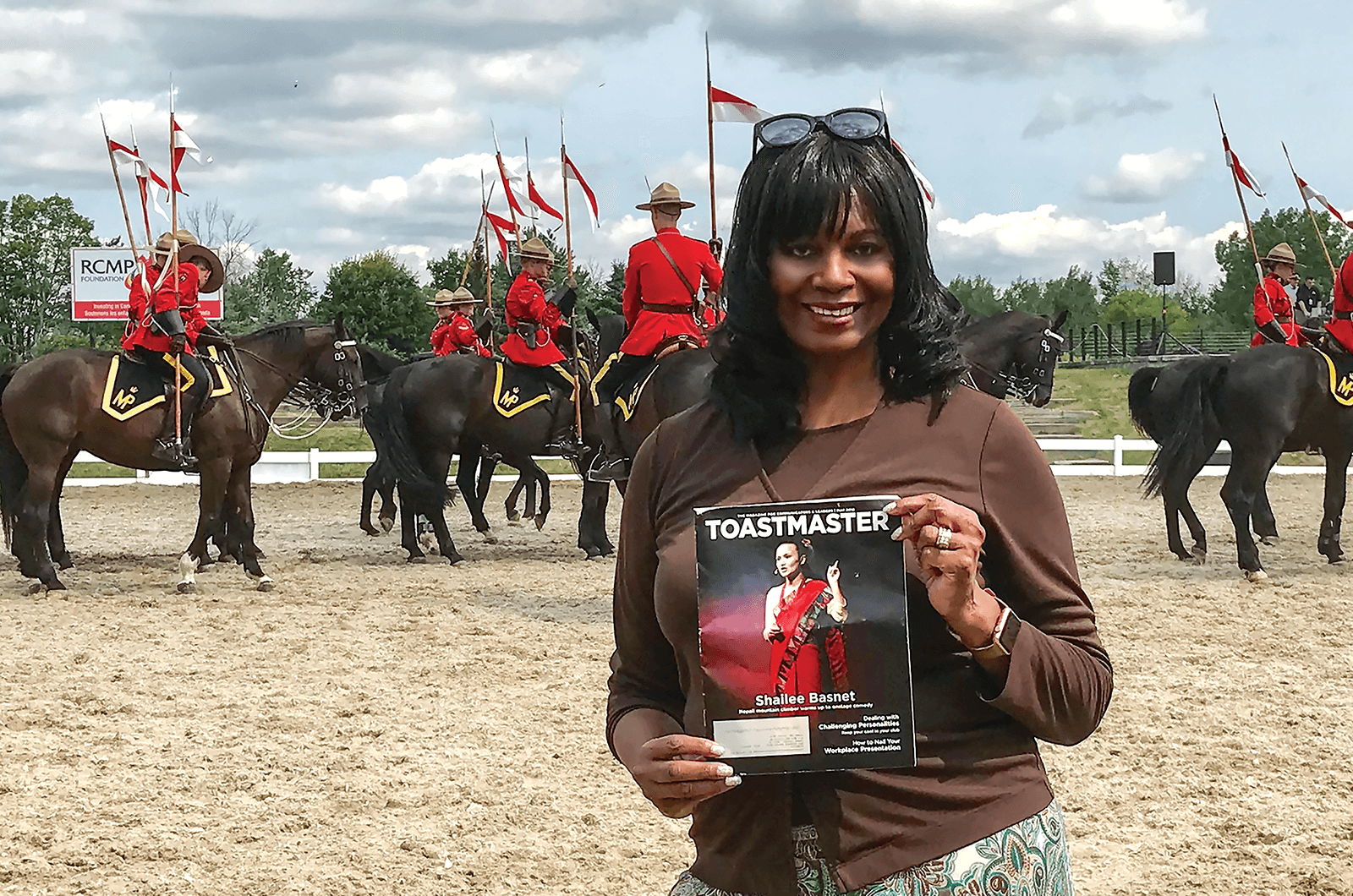Sunny Fridge, ACB, ALB, of Jackson, Mississippi, enjoys a display by the Royal Canadian Mounted Police in Ottawa, Ontario, Canada.