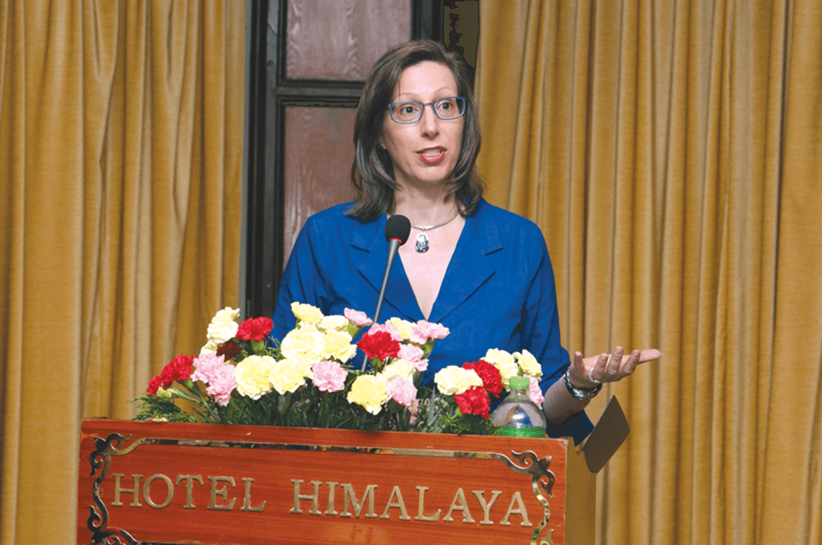 Alaina B. Teplitz, the U.S. Ambassador to Nepal, speaks to the Tourism Toastmasters club in Kathmandu, Nepal, in July 2018. Photo by Dinesh Shrestha