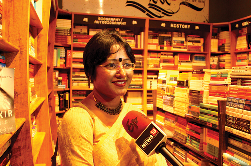 Sinjini Sengupta is interviewed by a local news channel on her novel.