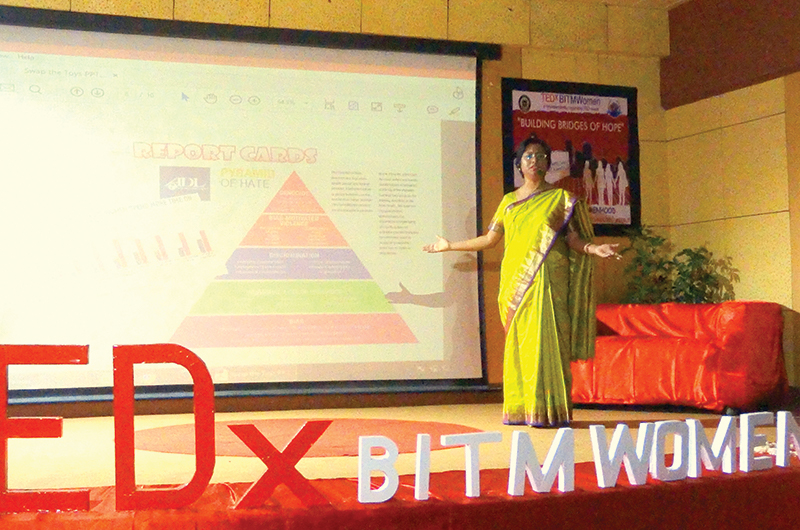 Sinjini speaks about gender sensitivity in parenting at a TEDX event in Meerut, Uttar Pradesh, India, in November 2017.
