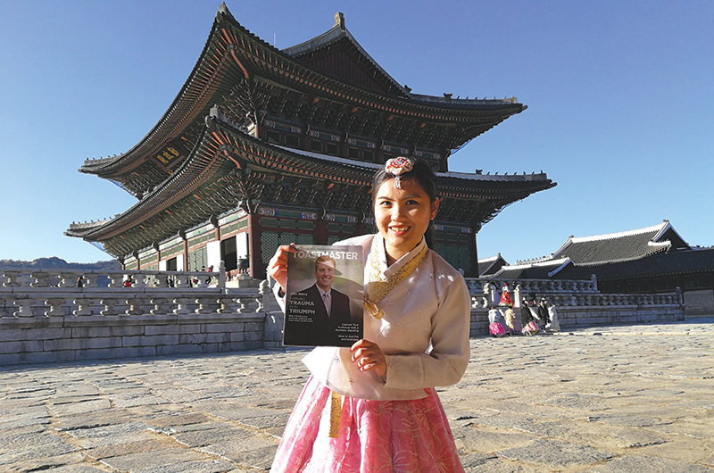 Cv Chon, from Skudai, Malaysia, wears hanbok, a traditional Korean dress, while visiting Gyeongbokgung Palace in South Korea.