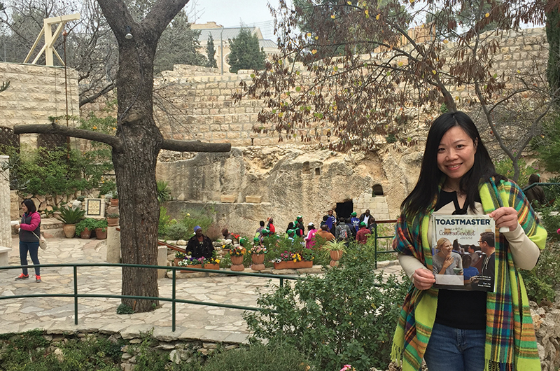 Janet Leung, from Hong Kong, visits Garden Tomb in Jerusalem, Israel.