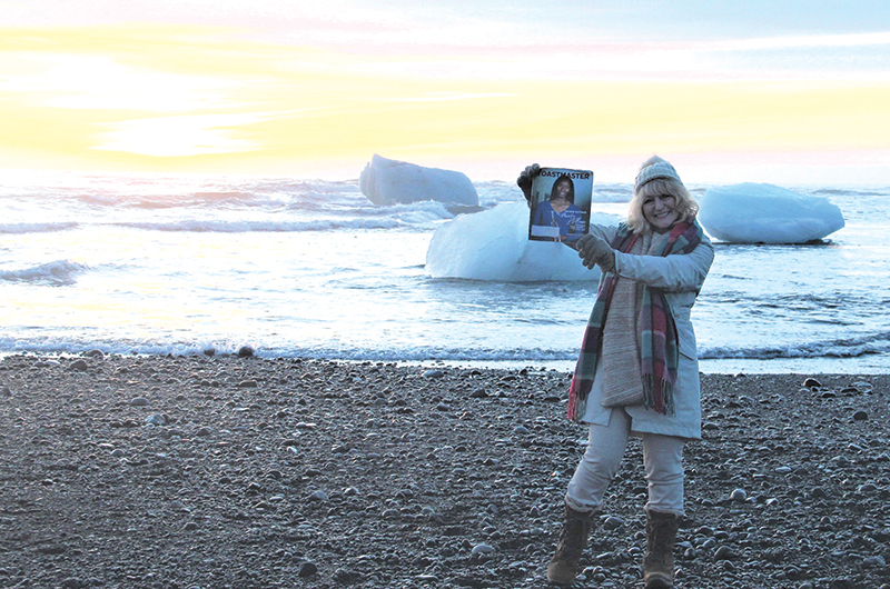 Louise Beaton, ACS, ALB, from Coledale, New South Wales, Australia, poses on ­Diamond Beach, Iceland.