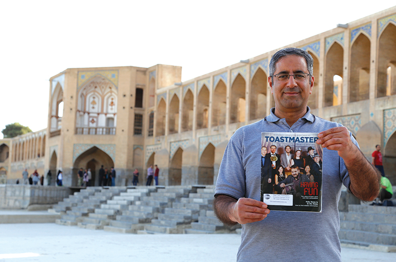 Mansoor Tavassoli, CC, CL, from Ancaster, Ontario, Canada, stands before the Khaju Bridge in Isfahan, Iran.
