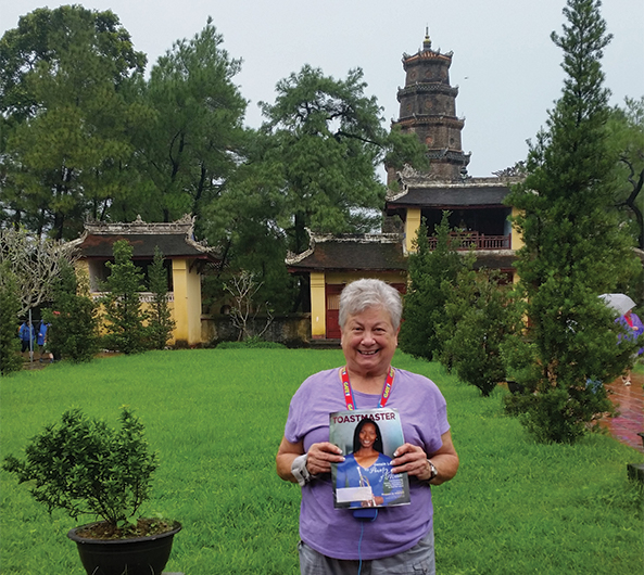 Mickie Ottery, CC, CL, from Las Vegas, Nevada, stands in front of the Pagoda of the Celestial Lady in Huế, Vietnam.