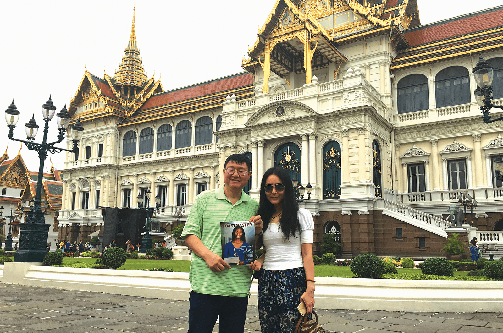 Alex Wang, CC, of Hacienda Heights, California, and his friend Melody visit Grand ­Palace in Bangkok, Thailand.