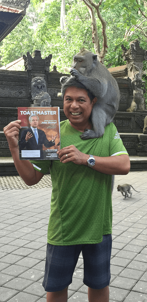 John Vallejos, CC, of Tigard, Oregon, has fun monkeying around in Bali, Indonesia.