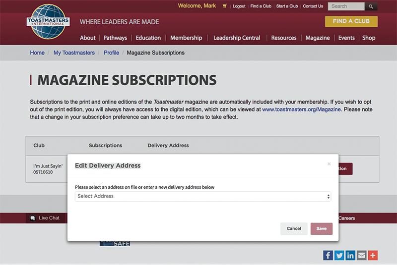 Magazine subscription webpage