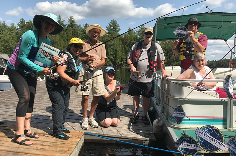 Members of the Ottawa Citizen Toastmasters club celebrate new leadership by having fun on Bobs Lake, 90 minutes from Ottawa, Canada.