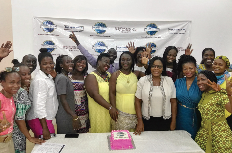 Club celebrations are part of the fun at the Perissos Horizon Toastmasters club in Accra, Ghana.