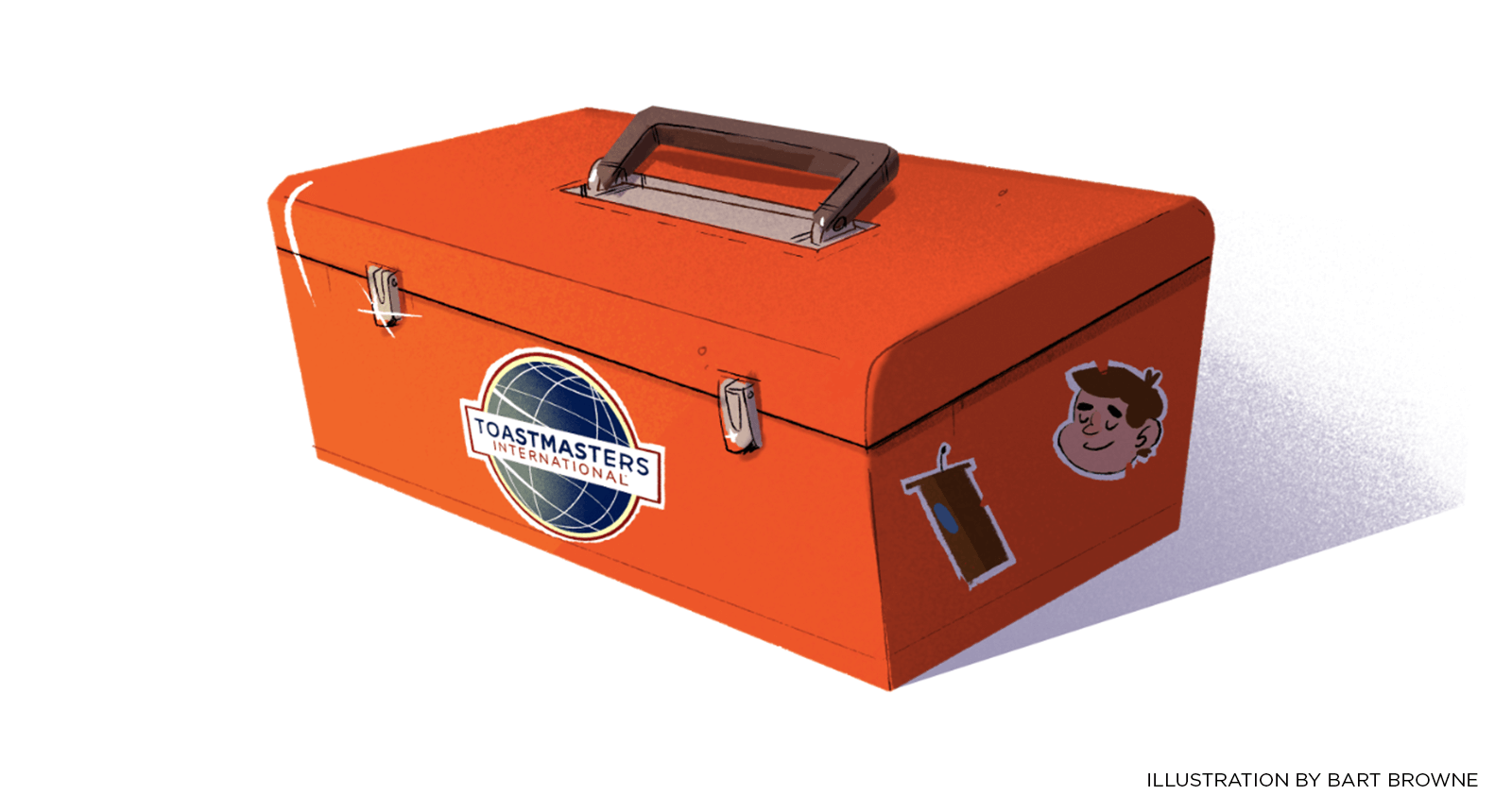 Illustration of orange toolbox with Toastmasters logo